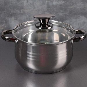 """Набор посуды """"Софи"""", 5 предметов: кастрюли 3,6/6,1 л,ковш 1,9 л,чайник 2,5 л,сотейник 2,9 л, антипригарное покрытие, стеклянные крышки"""