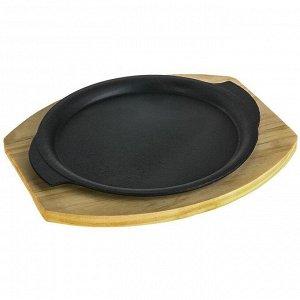 Сковорода «Круг. Восток», 26х22,7 см, с ручками, на деревянной подставке