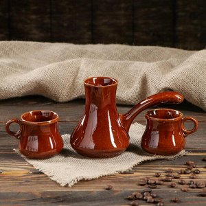 """Кофейный набор """"Турка и 2 чашки"""", коричневый, 0,7 л/ 0,25 л"""