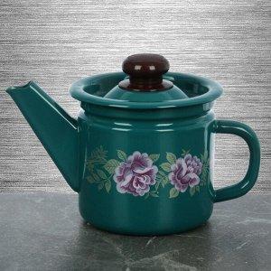 Чайник заварочный 1 л, фиксированная ручка, цвет бирюзовый, рисунок МИКС