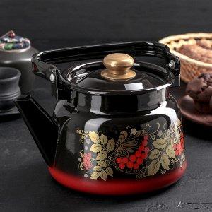 Чайник «Рябина», 2,3 л, эмалированная крышка, цвет красно-чёрный, МИКС