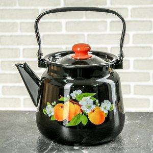 Чайник 3,5 л, эмалированная крышка, цвет чёрный, рисунок МИКС