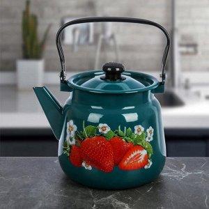 Чайник 3,5 л с декором МИКС, цвет бирюзовый
