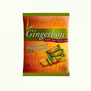 Имбирные конфеты  жевательные мятные Gingerbon, 125г.