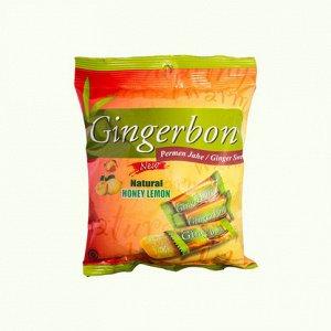 Имбирные конфеты жевательные с медом и лимоном Gingerbon, 125г.