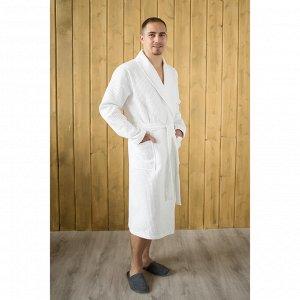 Халат мужской, шалька, размер 56, цвет белый, вафля