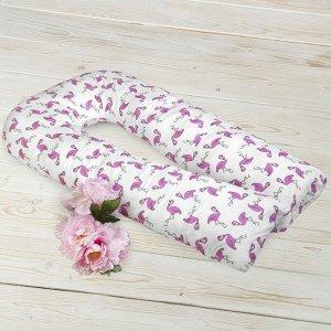 Подушка для беременных U-образная, размер 35 ? 340 см, принт фламинго