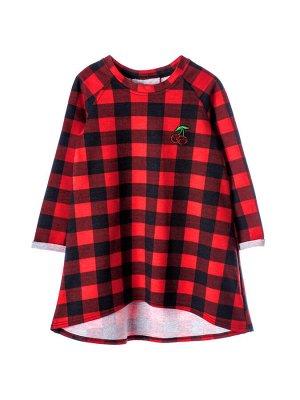 Платье Состав: хлопок 92%, эластан 8%  Платье с длинным рукавом, по переду аппликация. По спинке декоративная складка. Изготовлено из петельчатого футера с лайкрой.
