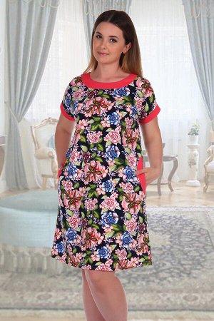 Платье 538 Кулирка 100% хлопок Платье прямого силуэта из кулирки. Горловина, рукава и карман обработаны отделочной обтачкой. Дизайн в виде ярких цветов, общая длина чуть выше коленей. Размеры от 50 до