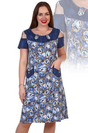 Платье 797 Ткань: кулирка Состав: 100% хлопок Размеры: 48, 50, 62, 64 Модное платье из кулирки. Необычный покрой, открытые плечи, короткие рукава, карманы по бокам, два варианта дизайна — розы и подсо