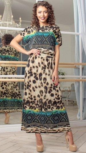 """Платье """"Нарцисс"""" 62212 купон лео черн/желтый"""
