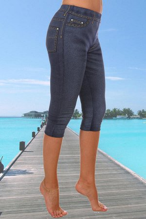 Лосины-Бриджи, принт  имитирующий джинс