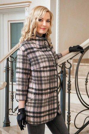 Пальто Пальто Azzara 3066 серо/пудровая клетка  Состав ткани: ПЭ-96%; Спандекс-4%;  Рост: 164 см.  Полупальто женское прямого силуэта, с воротником «стойка», со спущенной углубленной прой