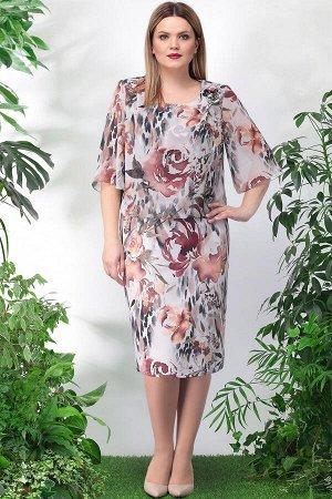 Платье Платье Lenata 11897 коричневые цветы  Состав ткани: ПЭ-95%; Спандекс-5%;  Рост: 164 см.  Это чудесное платье станет отличным вариантом и на каждый день, и на выход. Его удачный фасон скроет не