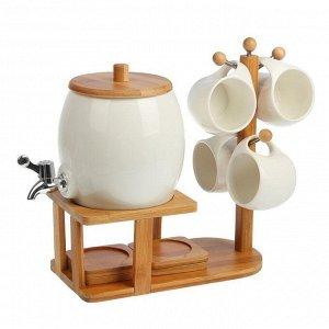 Набор питьевой , 9 предметов: бочонок с краником 1,5 л, кружки 250 мл 4 шт, блюдца 4 шт
