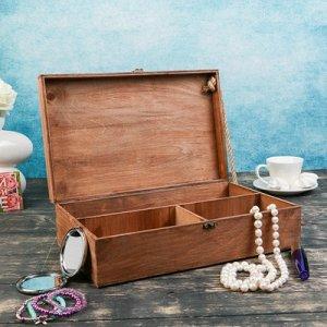 Подарочный ящик 34?21.5?10.5 см деревянный 3 отдела, с крышкой, светло-коричневый