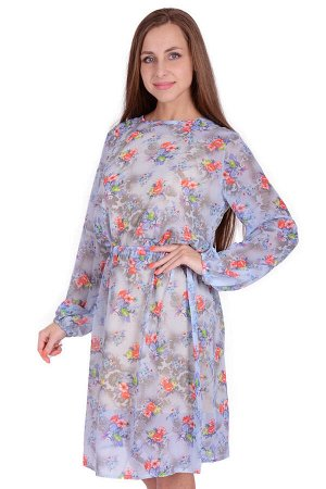 Платье-двойка П 683 (принт букеты)