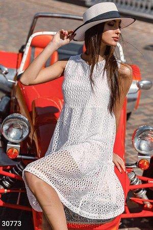 Ажурное короткое платье