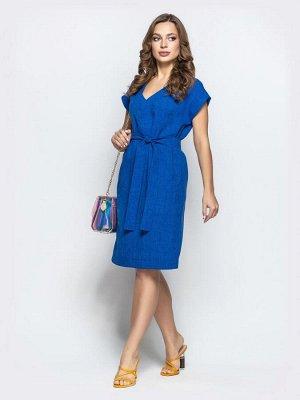 Платье Стильное платье с V-вырезом и удобными карманами на полочке. Пояс в комплекте.  Замеры изделия:  длина по спинке - 95 см; длина рукава от горловины - 19 см. Материал: Лен Растяжимость: нет Сост