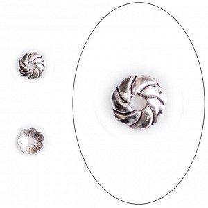 Шапочка Волны, 9*2мм, тибетское серебро. Цена за 10 шт.