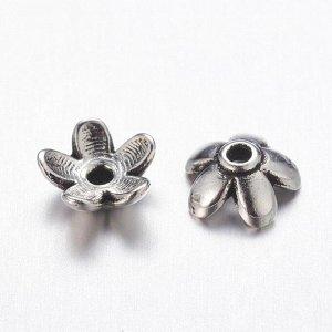 Шапочки для бусин 6*3мм, маленький цветочек, тибетское серебро. Цена за 10 шт.