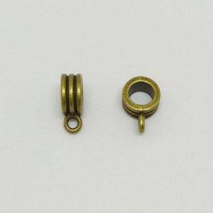 Держатель, 12.5*4.5мм, рондель с бороздками, бронзового цвета с чернением, 10 грамм