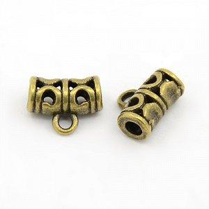 Держатель, 11.5*9мм, трубочка изогнутая, с резным узором, бронзовая с чернением, 10 грамм