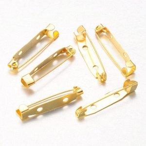 Основа для броши, 30*5.5мм, золотистого цвета. Цена за 1 шт.