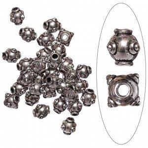 Бусина металлическая, 9.5*8мм, с пупырышками, тибетское серебро.Цена за 1 шт.