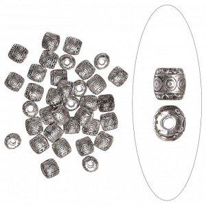 Бусина металлическая в тибетском стиле 6х6 мм, серебристая с чернением. Цена за 1 шт.