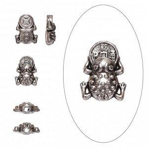 Бусина металлическая, 14*11*5мм, жаба с монеткой, тибетское серебро