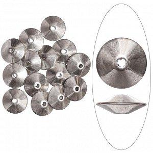 Бусина металлическая, 11.5*4.5мм, биконус гладкий, тибетское серебро. Цена за 1 шт.