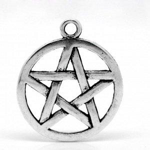 Подвеска, 20*17мм, пентаграмма двусторонняя, тибетское серебро