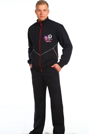 Костюм 251 хлопок-72%, полиэстер-20%, лайкра-8% Мужской спортивный костюм из футера с лайкрой олимпийка + брюки. Олимпийка с контрастной прострочкой, застегивается на молнию, воротник-стойка. Брюки с