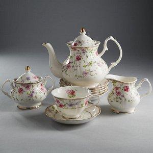 """Набор чайный 15 предметов МР017Р/15 """"Флер де лиз"""" в подарочной коробке"""