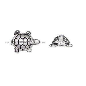 Бусина металлическая, 15*12мм, TierraCast, черепашка, посеребренная с чернением