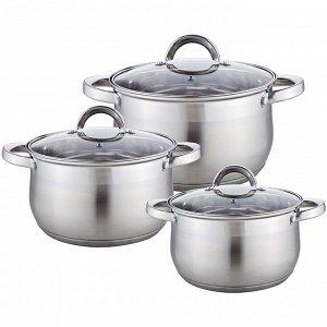 Набор посуды 6 предметов: 3 кастрюли (2,9 л, 5,1 л, 6,6 л) из нержавеющей стали со стеклянными крышками BE-617/6