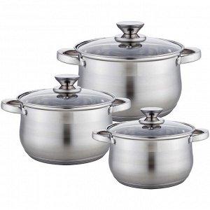 Набор посуды 6 предметов: 3 кастрюли (2,9 л, 5,1 л, 6,6 л) из нержавеющей стали со стеклянными крышками BE-615/6
