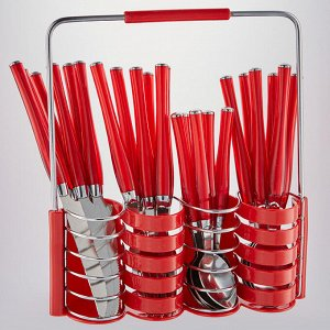 """Набор столовых приборов 24 предмета  в подставке BE-016P25/1 """"Амалия"""" красный"""