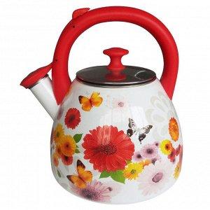"""Чайник  3,0 л со свистком ЕМ-30001/43 """"Цветочная фантазия"""""""