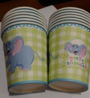 Стаканы в клетку со слоником (упаковка 6 шт)
