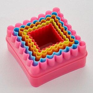 """Набор пластиковых форм для печенья 5 размеров """"Квадрат"""" АК-624Р/5"""