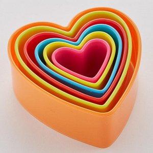 """Набор пластиковых форм для печенья 6 размеров """"Сердечки"""" АК-620Р/6"""