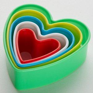 """Набор пластиковых форм для печенья """"Сердечки"""" 5 размеров BE-4302P/5"""