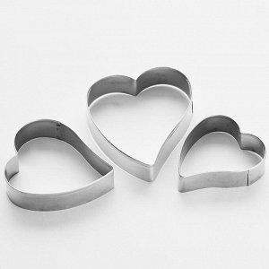 """Набор форм для печенья """"Сердце"""" 3штуки (7,5х6см, 6,5х5см, 5,5х4,5см) ВЕ-4324/3"""