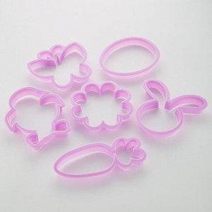 Набор пластиковых двусторонних форм для печенья 6 предмета АК-634Р/6 в мешке