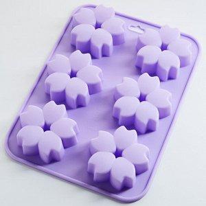 """Форма 23х17х2,5см для выпечки 6 кексов силиконовая AK-6180S """"Милые цветочки"""" фиолетовая"""