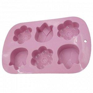"""Форма для выпечки 6 кексов силиконовая """"Цветы"""" AK-6051S темно-розовая"""