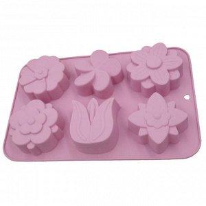 """Форма для выпечки 6 кексов силиконовая """"Цветочное настроение"""" AK-6044S темно-розовая"""