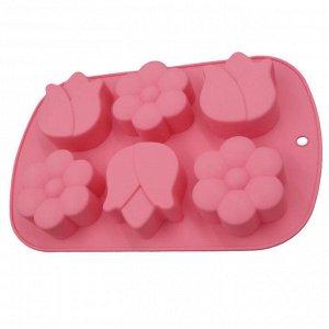 """Форма для выпечки 6 кексов силиконовая """"Цветы"""" AK-6051S розовая"""